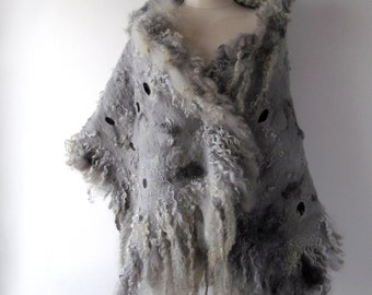 Felt Fur Curly scarf, Rustic Grey Gray, Hand Felted scarf, Pure Real Wool, warm felted stole  Fleece by galafilc Organic and Cruelty Free