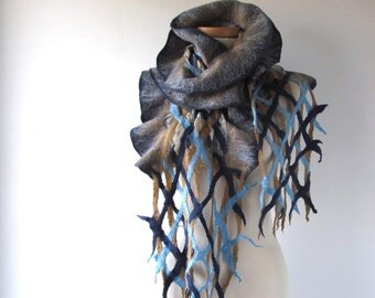 Ruffle felted scarf Nuno felted  scarf ruffle felt scarf Blue beige scarf  spring scarf navy blue scarf long shawl by Galafilc