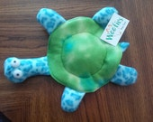 Turtle Disk Fleece Dog Toy - Blue-green shell with blue speckled legs