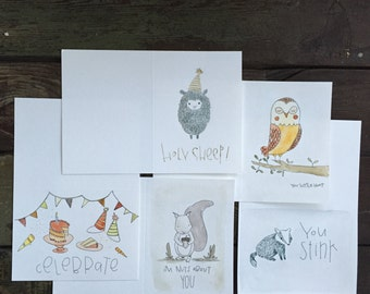 "Hand-painted ""Party Animal"" Card Set of 5"
