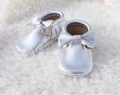 Silver Metallic Leather Moccasins handmade moccs for babies and toddlers custom