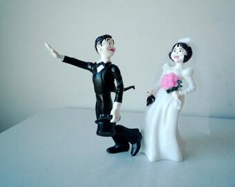 Vintage Kitsch Novelty Bride and Groom Cake Topper, SALE