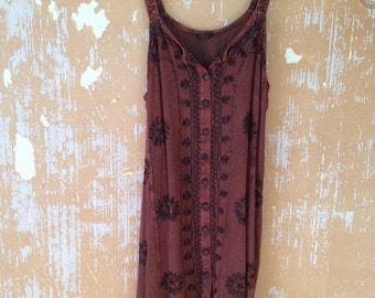 vintage. 90s 80s Brown Rayon Short Dress //  Free Size