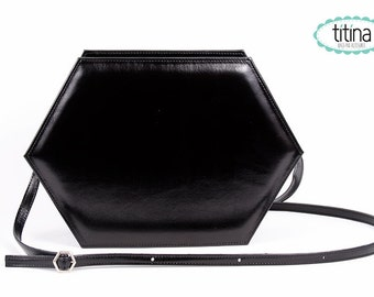 SALE before 40USD metallic black faux leather hexagon bag vegan faux leather bag