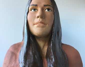 Bust Sculpture Of A Woman, Ceramic Figure Art Portrait Head