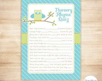 Owl Baby Shower Quiz - Baby Boy Shower Nursery Rhyme Quiz Game - Blue and Green - Owl Themed Baby Shower Game - PRINTABLE INSTANT DOWNLOAD