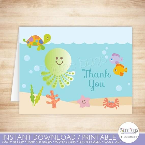 under the sea thank you card template sea creatures folded thank