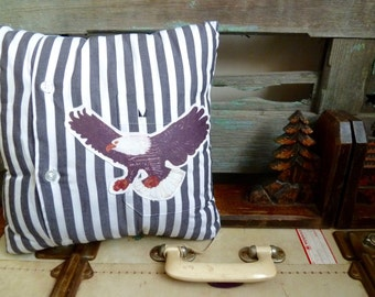 Vintage Bald Eagle Transfer on Black & White Stripe Shirt Fabric, OOAK Small Cushion, Americana Throw Pillow, Masculine Statement Cushion