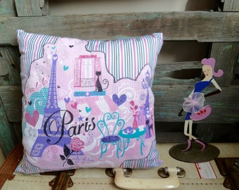 Handmade Appliqued Pink Paris T-Shirt Motifs on Stripe Shirt Fabric, OOAK Small Cushion, Girly Throw Pillow, Statement Cushion