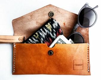 SALE Saddle Tan Leather Clutch