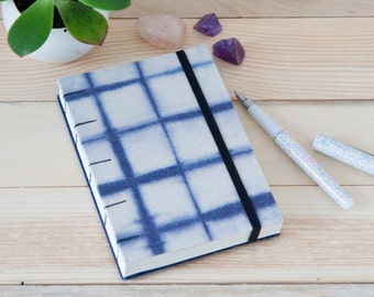Small Travel Journal. Blank Book. Artist Journal. Blue and White Grid Pattern. Coptic Journal. Gift for Men.