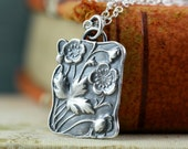 Plum Blossom Sakura Jewelry Necklace, Courage Hope Strength,  Sterling Silver Handmade