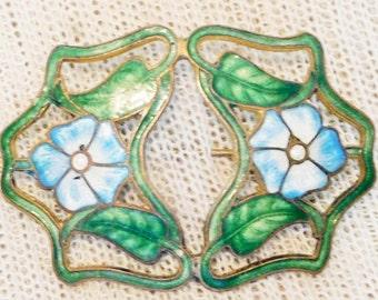 Art Nouveau Guilloche Brooch