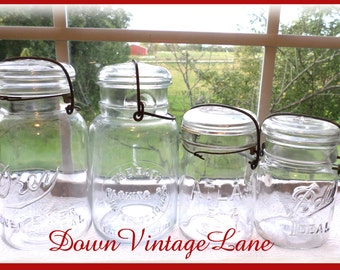 4 Clear Vintage Quart and Pint Jars with Wire Handles DREY, RATH, Ball, Atlas