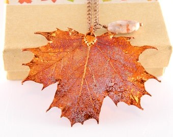 Copper Maple Leaf Necklace with Crazy Lace Agate, 20 inch Necklace, Real Leaf Jewelry