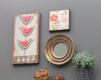 home decor - Pretty in Pink - mixed media -  3 piece wall art