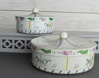 containers - Circus tin - vintage - Merry go Round - a collection of 2 tins