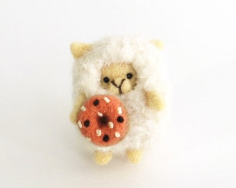 Spring lamb, Needle felted sheep brooch with a felt donut, animal pin, white sheep, felt accessories