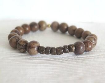 Coffee Bean Brown Acai Seed Bead Bracelet / Boho Bracelet with Coconut Heishi / Eco Friendly Beach Bracelet / Urban Chic Bracelet / Unisex