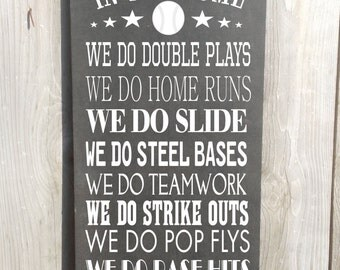 In this home We Do Baseball Vintage Style Custom Family Rules Baseball Sign Typography Word Art Sign