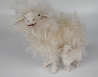 Italian Porcelain Sarda Sheep Protecting a Lamb
