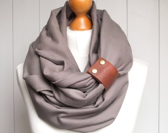 TAUPE Infinity Circle Scarf Shawl Loop with leather strap,  infinity scarves, fashion scarf, gift for her, taupe scarf, medium weight scarf
