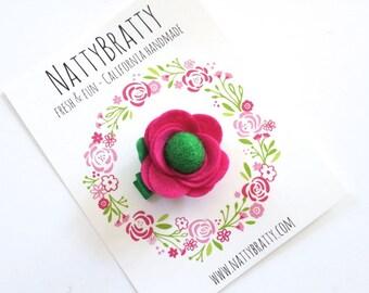 Hot Pink Felt Flower Hair Clip - Baby Girl - Flower Clip - Modern Blossom Clippie - Felt Rosette - Felt Rose - Modern Style - Baby Gift
