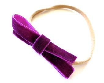 Bright Berry Plum Bow Headband - Magenta Dark Pink Velvet Ribbon Headband - Nylon Headband - Baby Headband - Holiday Fall Headband - Newborn