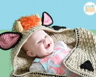 CROCHET  PATTERN Luna the Moo-Moo Cow Hooded Blanket PDF Crochet Pattern with Instant Download