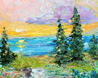 Lake Tahoe Sunrise original oil painting abstract palette knife impressionism on canvas fine art by Karen Tarlton