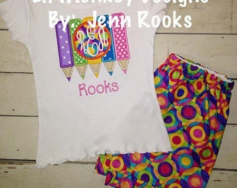 Back to School Colored Pencil Monogram First Day of School Outfit for Girls: Princess- First Day of School- Girls Outfit