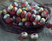 Matte Red Czech Rondelle Beads, Fire Polished beads, facetted glass donut beads, 3X5mm Matte Red & Marea (100pcs) NEW