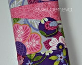 Purple Magenta Pink Floral Paisley Birds Crochet Hook Case with Sewn in Zipper Pocket Grey Teal Blush Pink