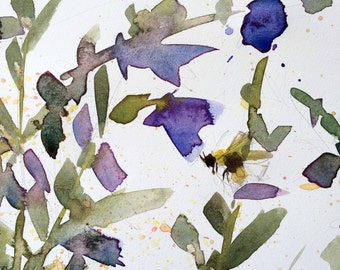 Penstemon and Bee Original Watercolor Floral and Insect Painting by Angela Mouton 5 x 7 inch with 8 x 10 inch White Mat