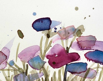 Cornflowers no. 6 Original Watercolor Floral Painting by Angela Moulton 5 x 7 inch with 8 x 10 inch White Mat
