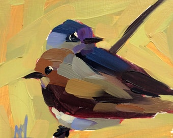 Two Purple Martins original bird oil painting by Angela Moulton 6 x 6 inch on birch plywood panel  pre-order