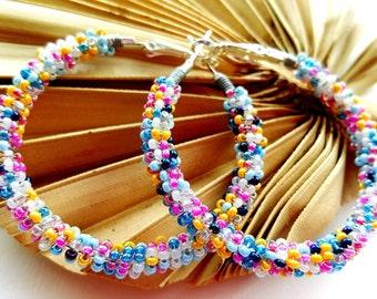 Multicolor Earrings, Seed Bead Earrings, Pink Yellow Blue,  Gifts for Girlfriend, Everyday Earrings , Colorful Boho Jewelry, Large Hoops