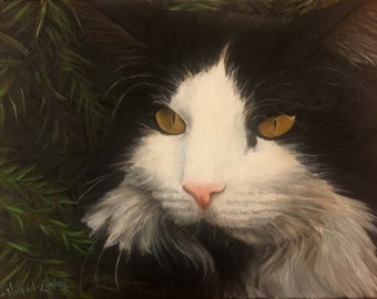 "12""x16"" Custom Pet Portrait cat portrait - custom painting - cat lover - fine art portrait"
