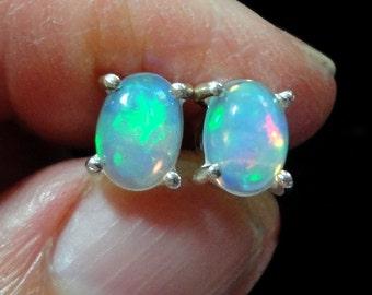 Opal Earrings Opal Stud Earrings AAA Quality Solid Fire Opal Oval Cabochon Stud Earrings in Solid Sterling Silver Studs