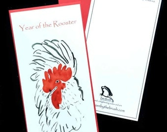 Rooster, Year of the Rooster custom birthday card, Chinese new year w/ red envelope, original sumi ink art, new baby shower gift card