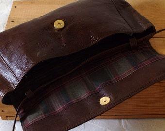 Brown Leather Clutch Plaid Lining Shoulder Strap