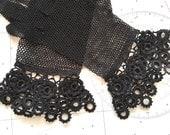 Antique Black Lace Fishnet Gloves Victorian Accessories