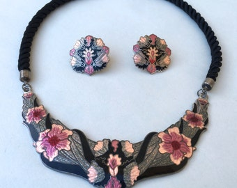 Boho Enamel Inlaid Choker Necklace Enamel Earrings Set Signed on Silk Cord