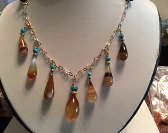Brown Chalcedony Teardrop Necklace