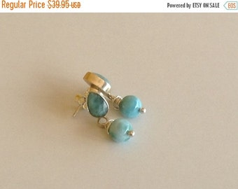 ON SALE Larimar Jewelry Larimar earrings Blue jewelry set in Sterling Silver 925 gifts for her
