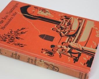 Vintage Book Spanish textbook Vintage Spanish language school book El Patio de los Naranjos Vintage Gift retro Vintage orange Decor display