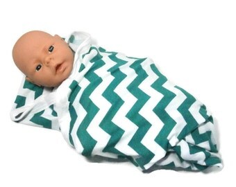 Chevron Swaddling Baby Blanket Teal and White Chevron Stretchy Knit Unisex Infant Receiving Blanket Teal Green Chevrons Baby Swaddler
