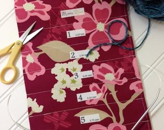 Woodrose, Hanging Circular Knitting Needle Holder, 8 x 26, 15 Channels