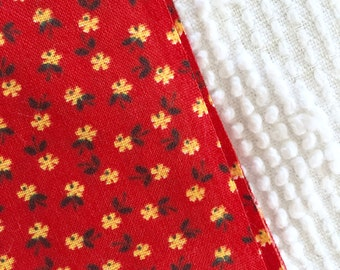 Sweet Vintage Yellow Red Floral Flowers Cotton Fabric Tiny Print