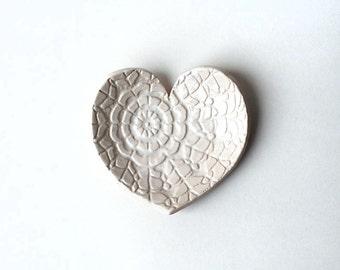 White Heart Dish - Ceramic, Pottery - Tea Bag Rest, Jewelry Dish, Ring Holder - Valentine - Lauren Sumner Pottery